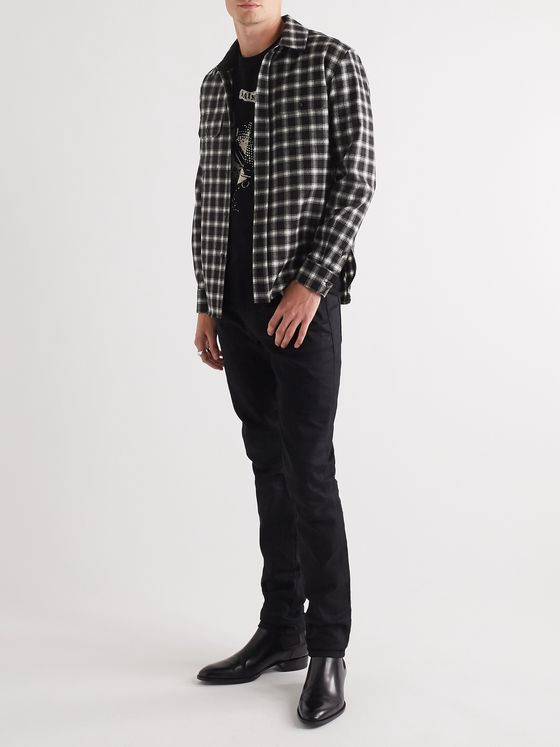 SAINT LAURENT Checked Wool-Blend Flannel Shirt