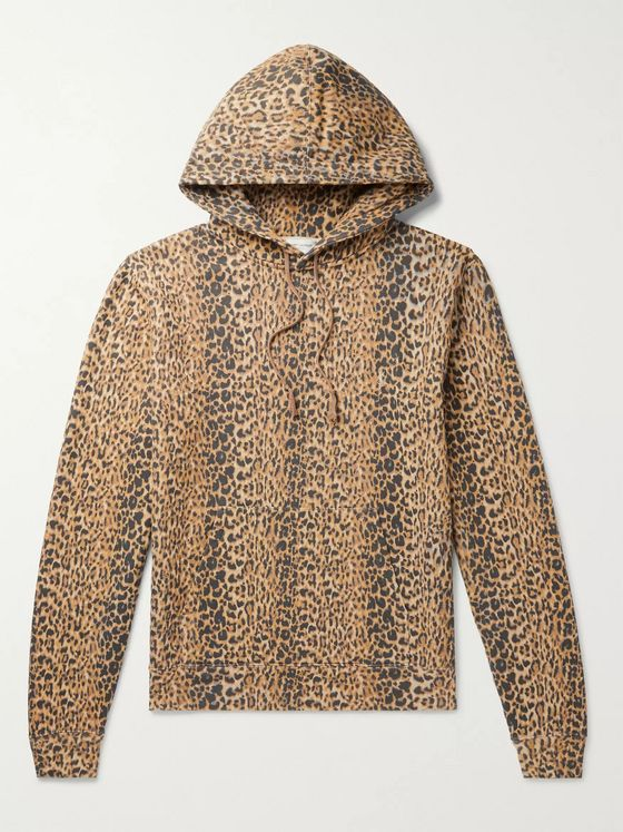 SAINT LAURENT Leopard-Print Fleece-Back Cotton-Jersey Hoodie