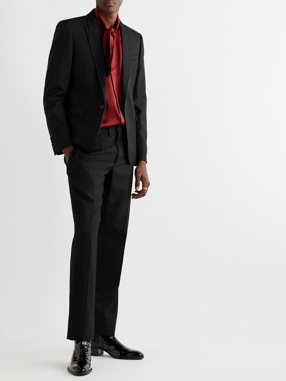 SAINT LAURENT Slim-Fit Piped Virgin Wool Blazer
