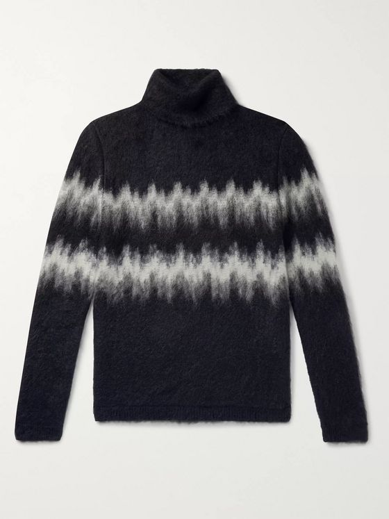 SAINT LAURENT Intarsia Mohair-Blend Rollneck Sweater