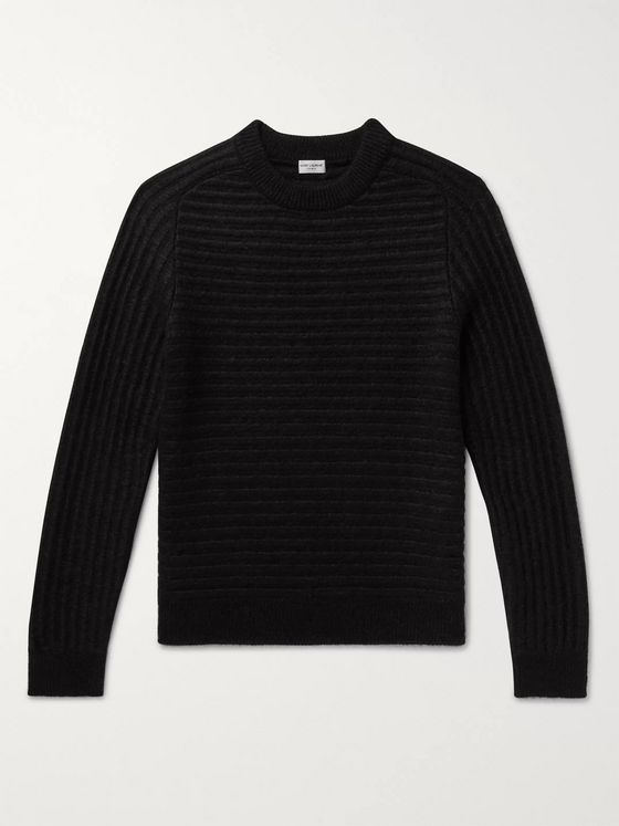 SAINT LAURENT Striped Wool and Mohair-Blend Sweater