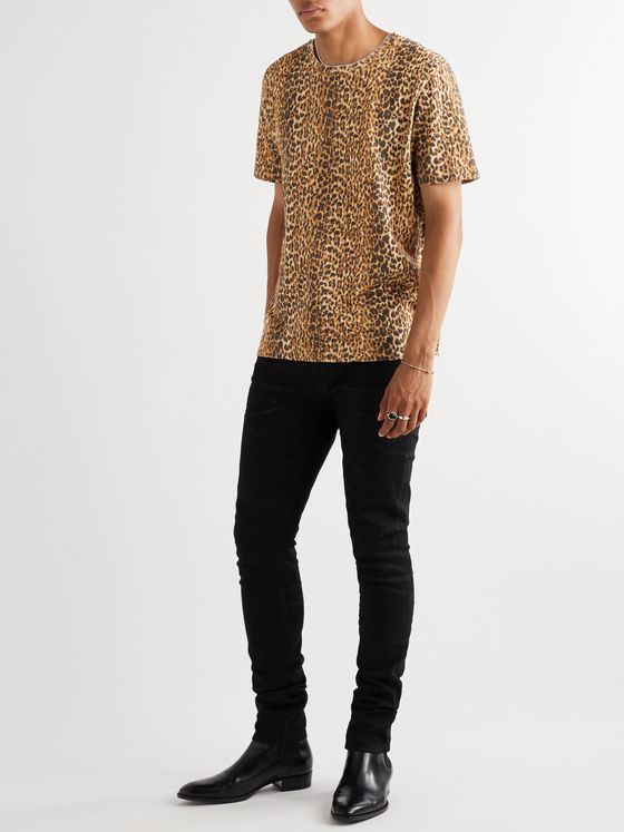 SAINT LAURENT Leopard-Print Cotton-Jersey T-Shirt
