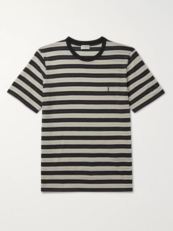 SAINT LAURENT Logo-Embroidered Striped Wool-Jersey T-Shirt