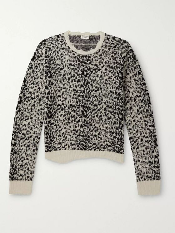 SAINT LAURENT Distressed Leopard Jacquard Sweater
