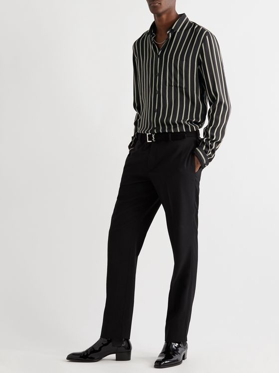 SAINT LAURENT Striped Silk-Blend Voile Shirt