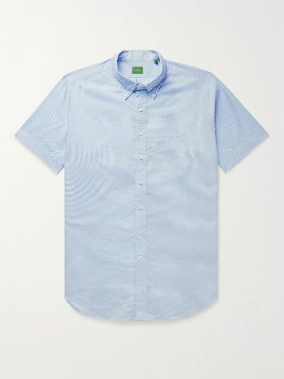 Sid Mashburn Button-Down Collar Striped Cotton and Linen-Blend Shirt