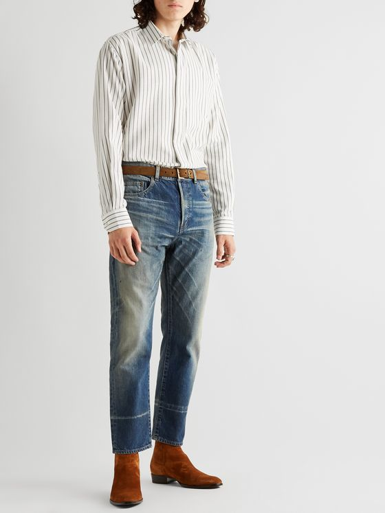 SAINT LAURENT Striped Cotton, Lyocell and Wool-Blend Shirt
