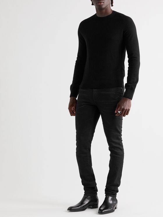 SAINT LAURENT Slim-Fit Ribbed Wool-Blend Sweater