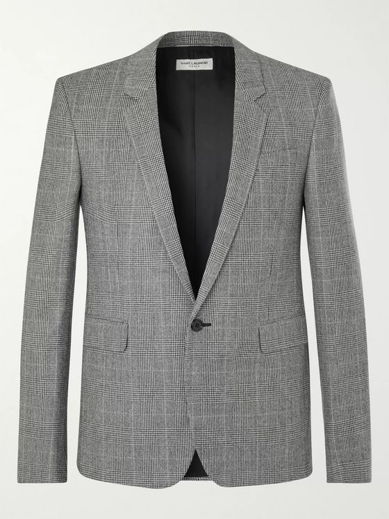 SAINT LAURENT Prince of Wales Checked Wool Blazer
