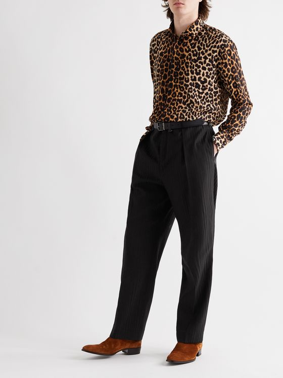 SAINT LAURENT Wide-Leg Pleated Striped Wool Trousers