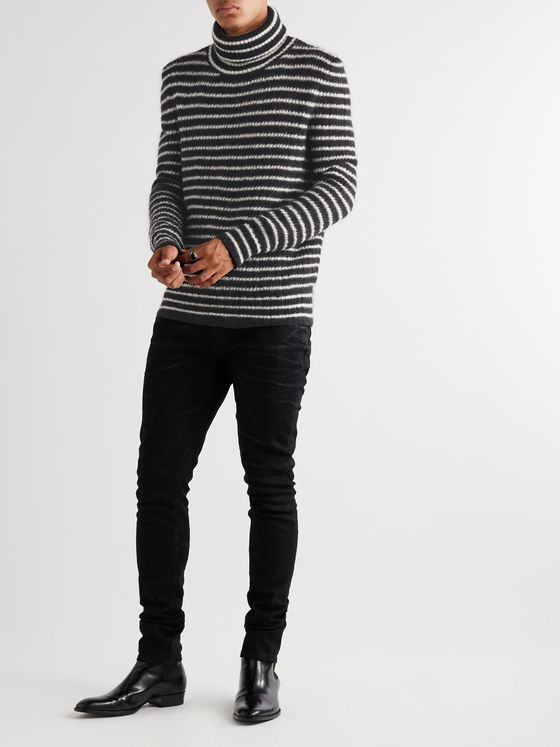 SAINT LAURENT Striped Mohair-Blend Rollneck Sweater