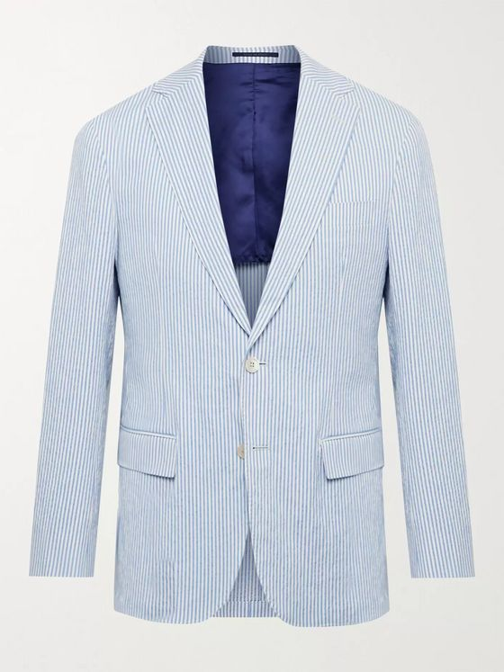 Sid Mashburn Kincaid No. 1 Slim-Fit Striped Cotton-Seersucker Blazer