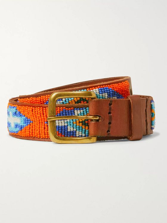 Sid Mashburn 3cm Beaded Leather Belt