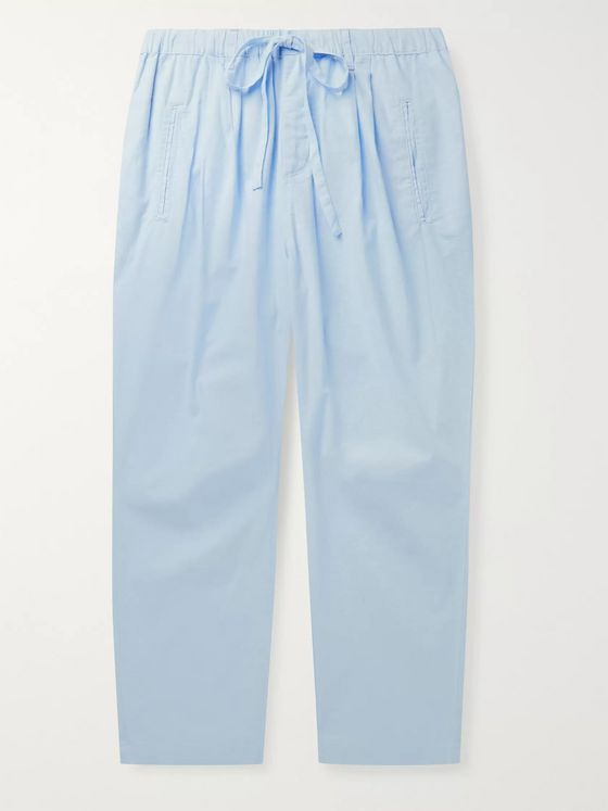 Massimo Alba Cropped Pleated Cotton-Voile Drawstring Trousers