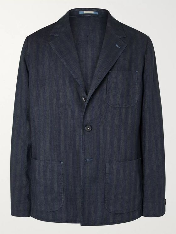 Massimo Alba Unstructured Striped Linen Blazer