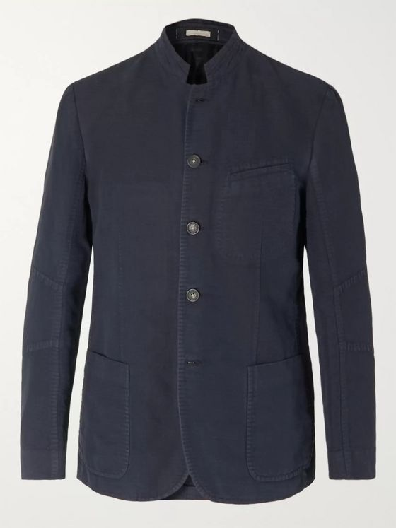 Massimo Alba Mandarin-Collar Diamond Weave Linen and Cotton-Blend Jacket