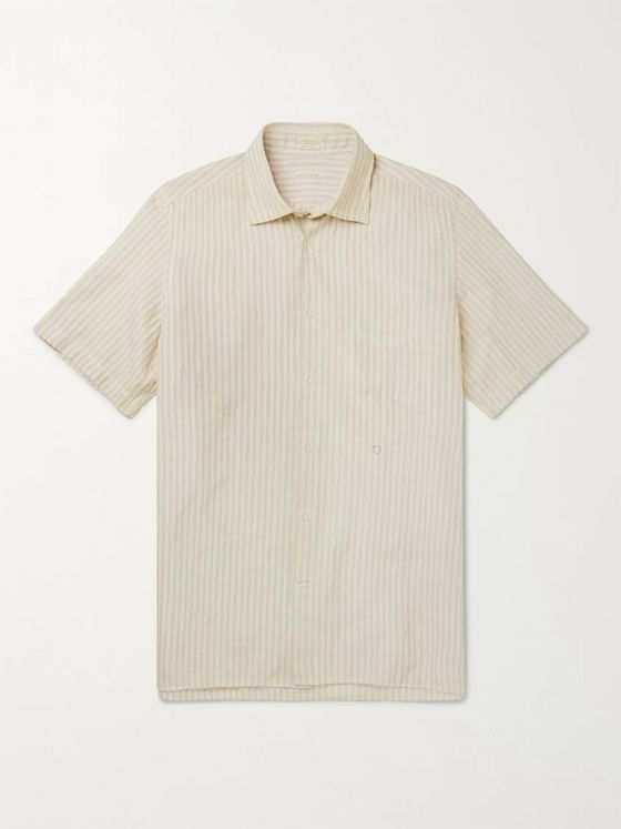 Massimo Alba Striped Cotton and Linen-Blend Shirt