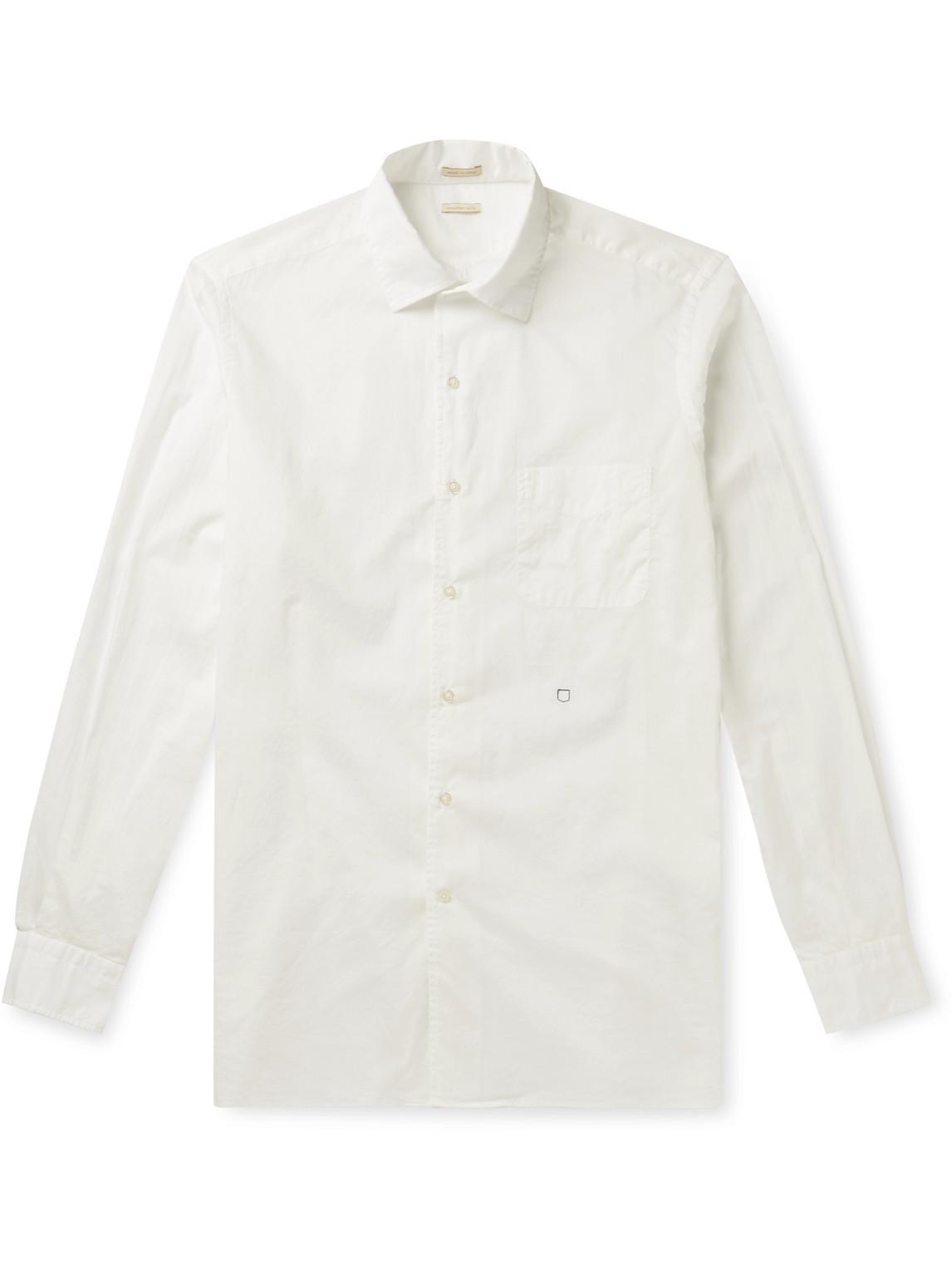 massimo alba - slim-fit cotton-poplin shirt - men - white - l