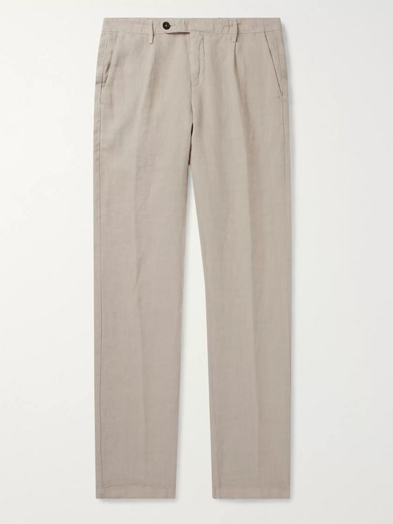 Massimo Alba Pleated Linen Suit Trousers
