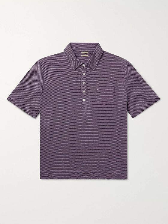 Massimo Alba Striped Cotton and Linen-Blend Polo Shirt