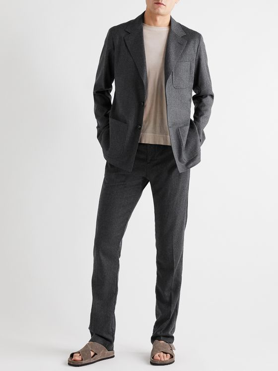 Massimo Alba Unstructured Mélange Wool-Flannel Suit Jacket