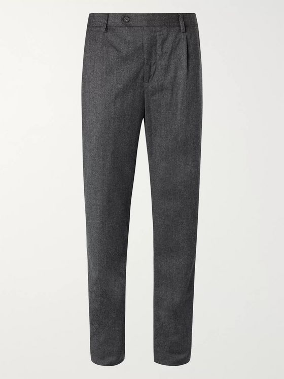 Massimo Alba Pleated Mélange Wool-Flannel Suit Trousers