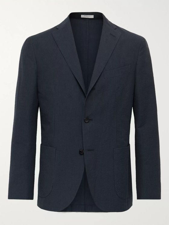 Boglioli Slim-Fit Unstructured Striped Cotton-Seersucker Suit Jacket