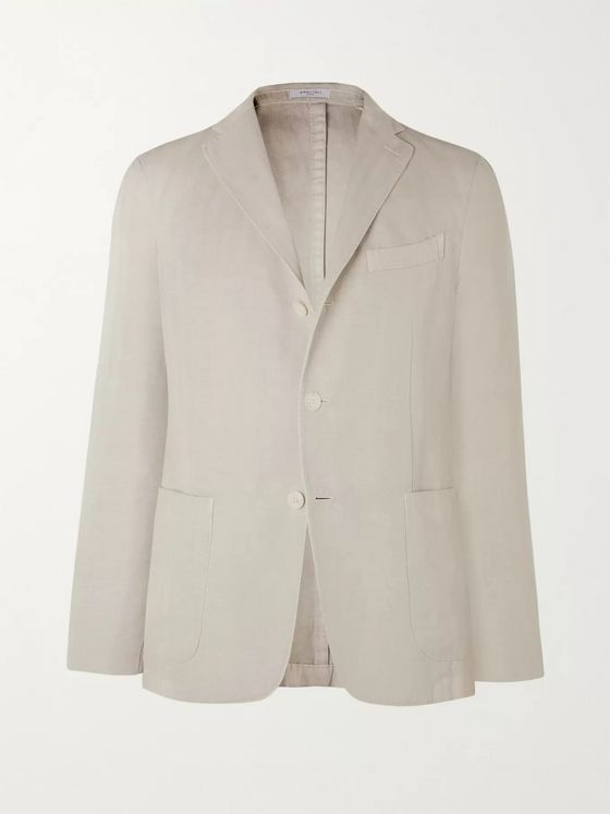 Boglioli Slim-Fit Unstructured Herringbone Cotton and Linen-Blend Suit Jacket