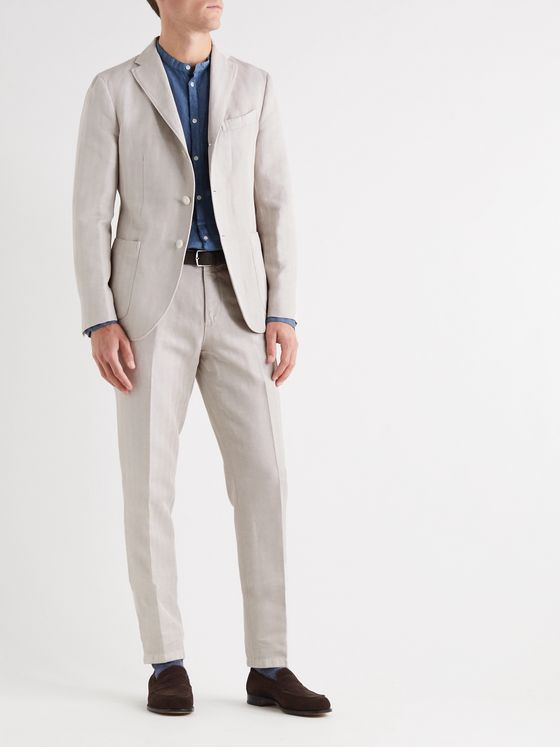 Boglioli Slim-Fit Herringbone Cotton and Linen-Blend Suit Trousers