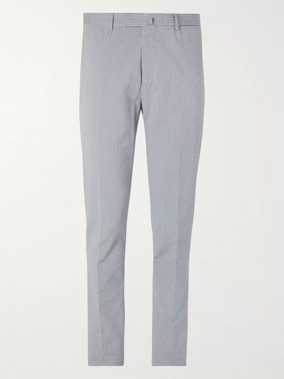 Boglioli Slim-Fit Striped Cotton-Seersucker Suit Trousers