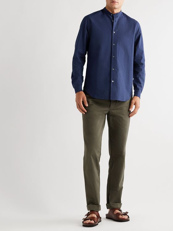 Boglioli Slim-Fit Grandad-Collar Striped Cotton-Seersucker Shirt