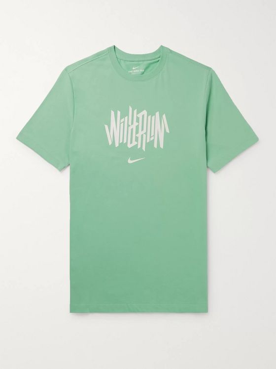 Nike Running Wild Run Logo-Print Cotton-Blend Dri-FIT T-Shirt