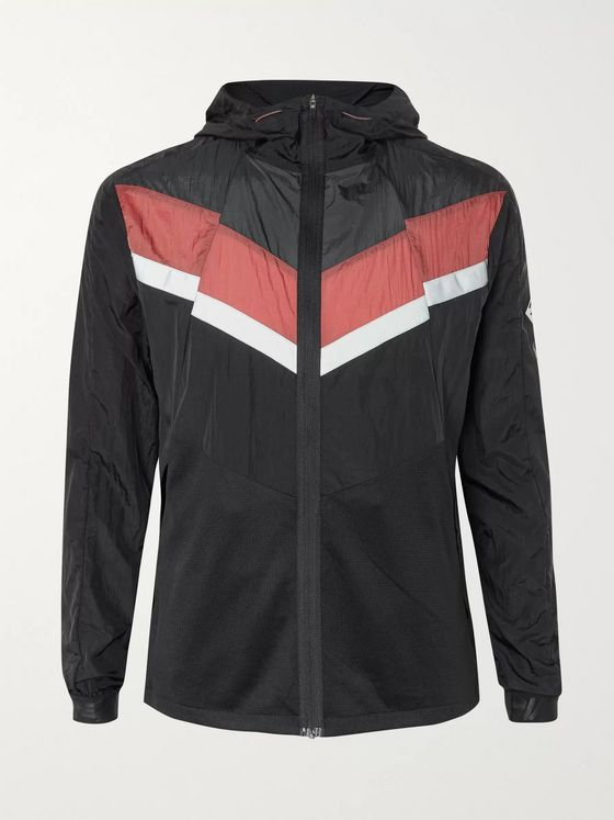 Nike Running Windrunner Logo-Print Colour-Block Mesh-Trimmed Shell Hooded Jacket