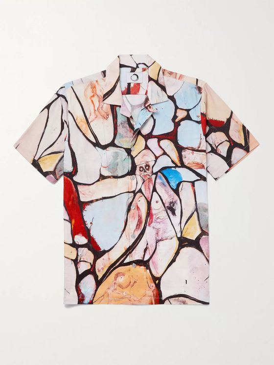 Endless Joy Camp-Collar Printed Woven Shirt