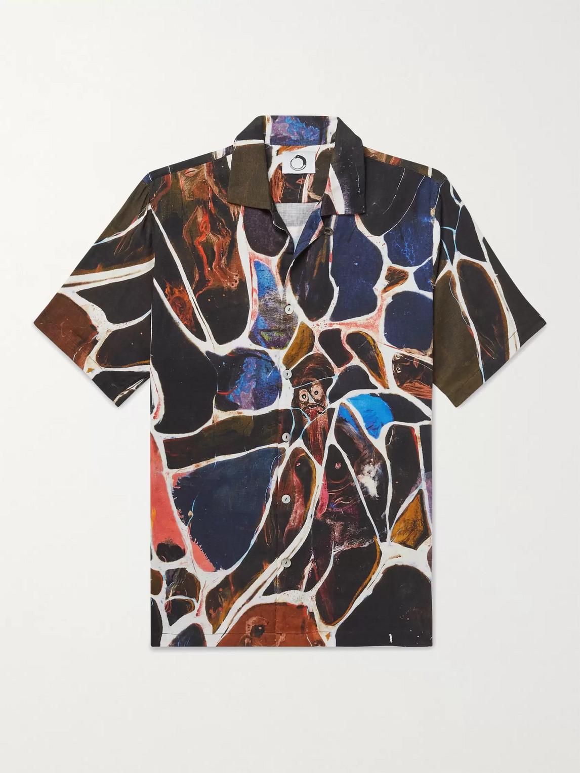 Endless Joy Camp-collar Printed Woven Shirt In Black
