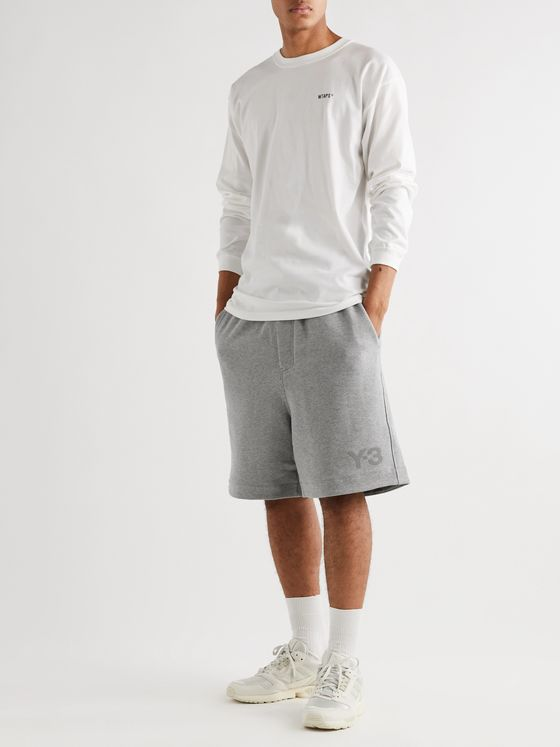 Y-3 Wide-Leg Shell-Trimmed Mélange Loopback Cotton-Jersey Drawstring Shorts