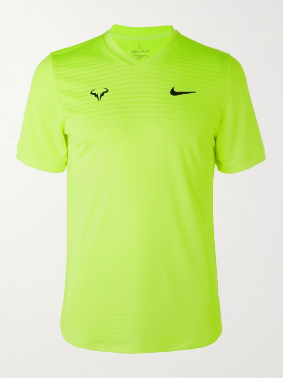Nike Tennis Rafa Challenger Striped Stretch-Jersey Tennis T-Shirt