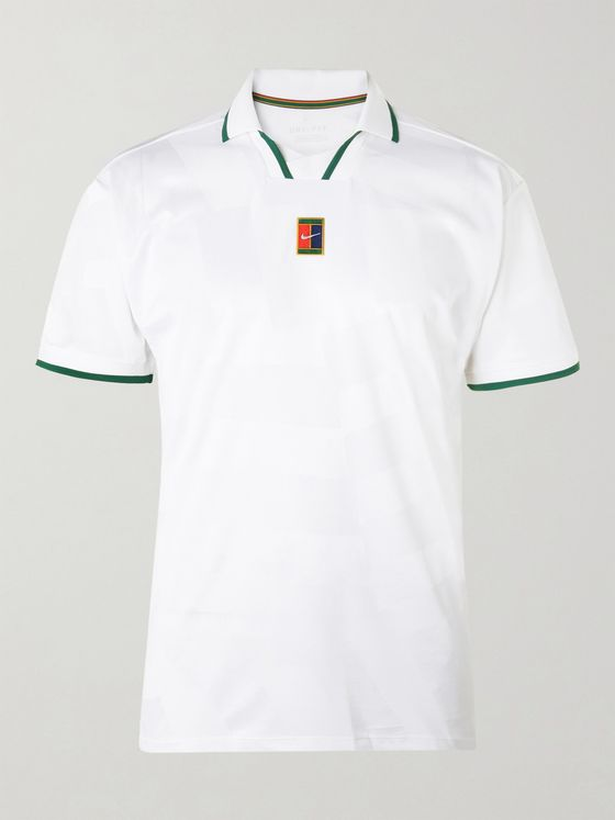 Nike Tennis Contrast-Tipped Stretch-Piqué Tennis Shirt