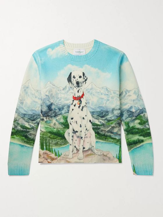 Casablanca Printed Merino Wool and Cashmere-Blend Sweater