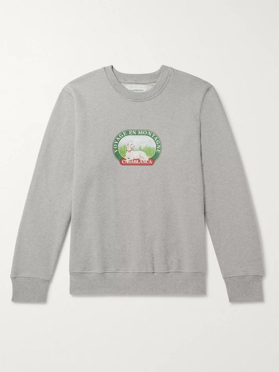 Casablanca Printed Mélange Loopback Cotton-Jersey Sweatshirt