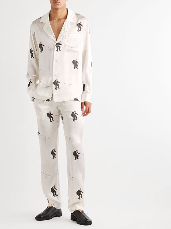 Casablanca Piped Printed Silk-Satin Pyjama Set