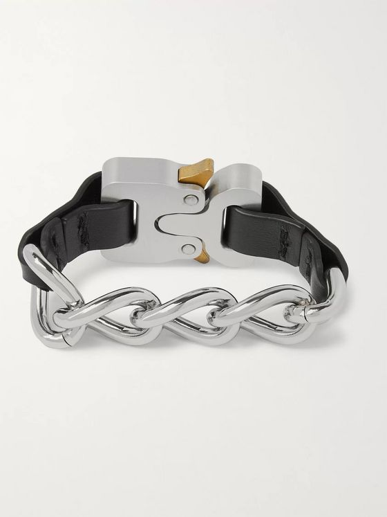 1017 ALYX 9SM Buckle-Detailed Silver-Tone and Leather Bracelet