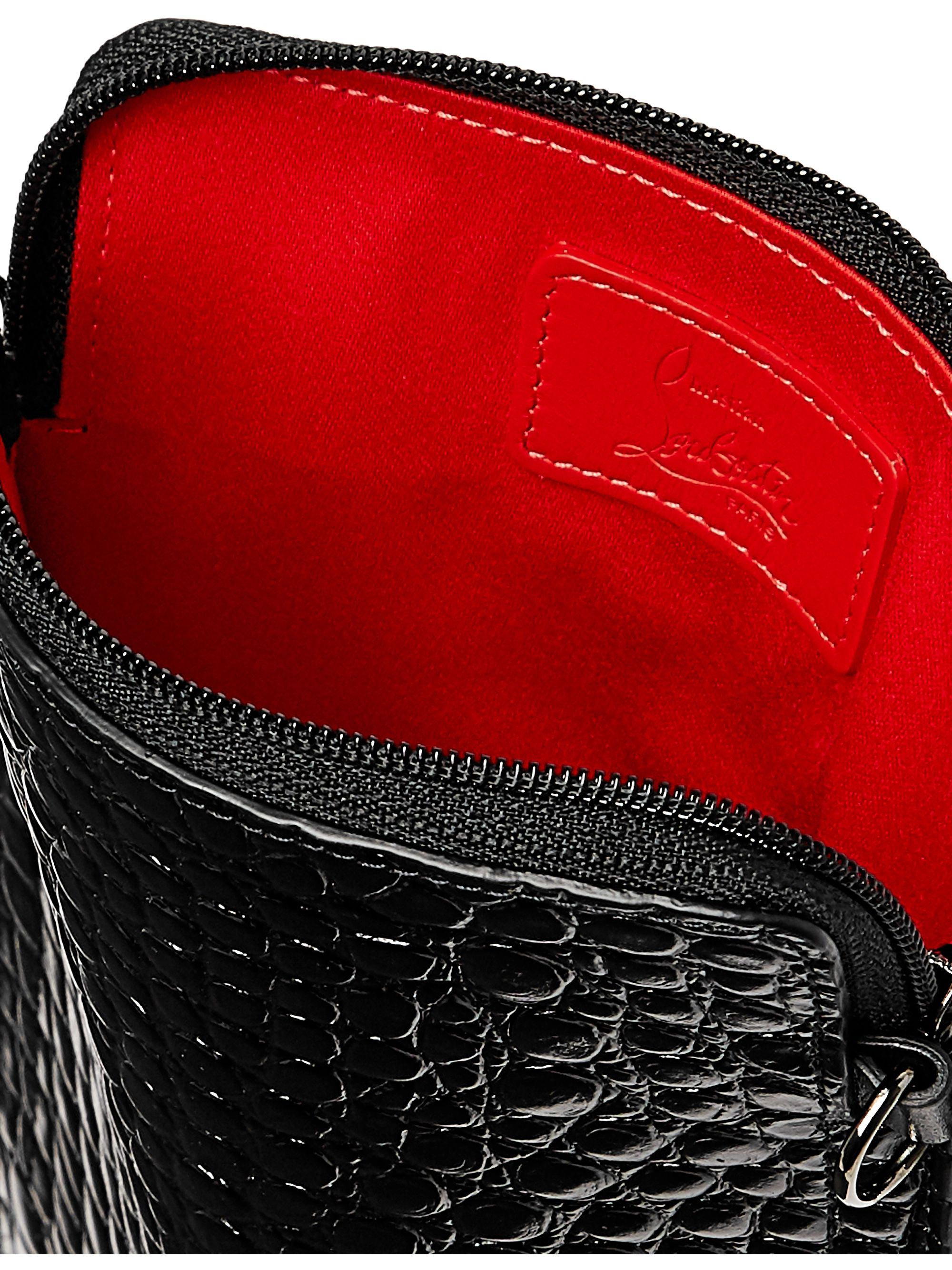 Christian Louboutin Croc-Effect Patent-Leather Pouch