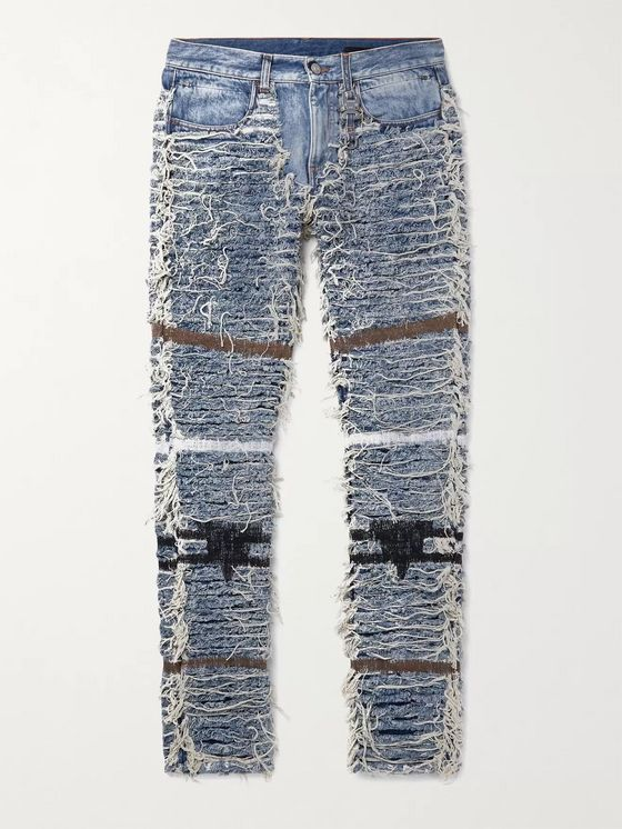 1017 ALYX 9SM + Blackmeans Slim-Fit Distressed Embroidered Denim Jeans