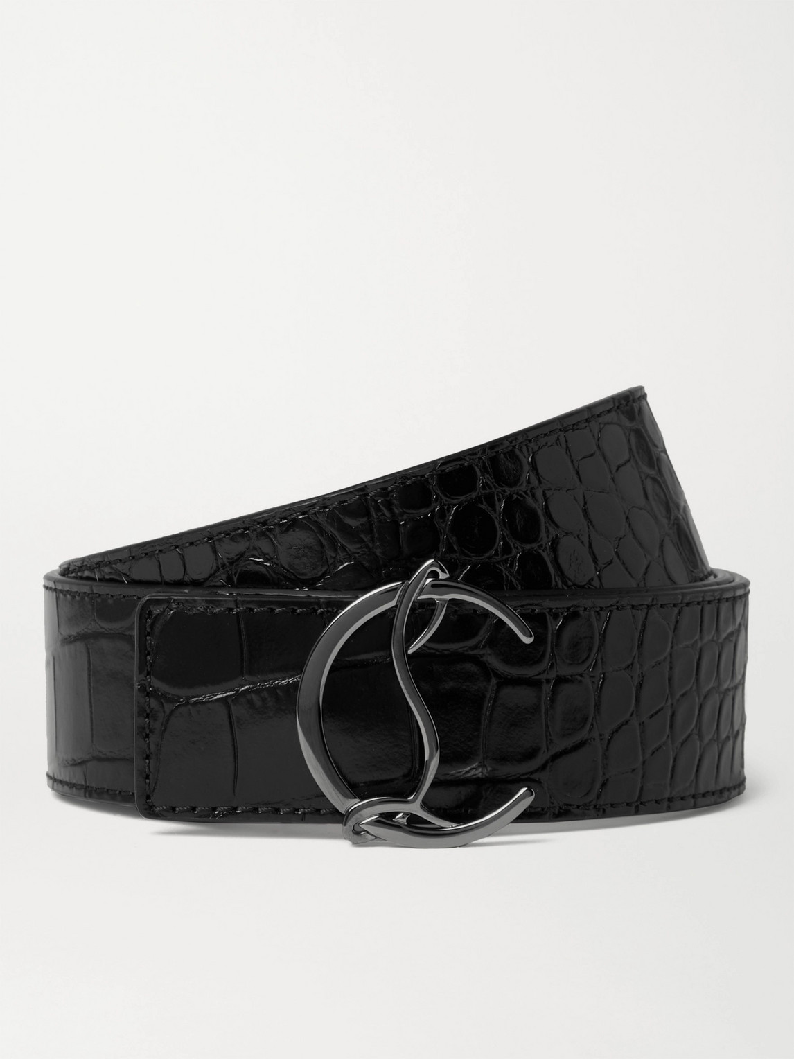 christian louboutin - 4cm croc-effect leather belt - men - black