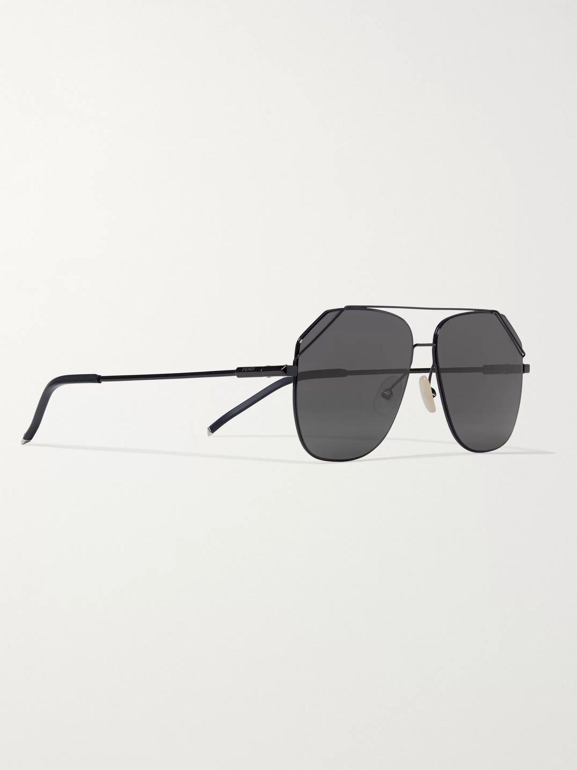 Black Aviator-style Metal Sunglasses | Fendi