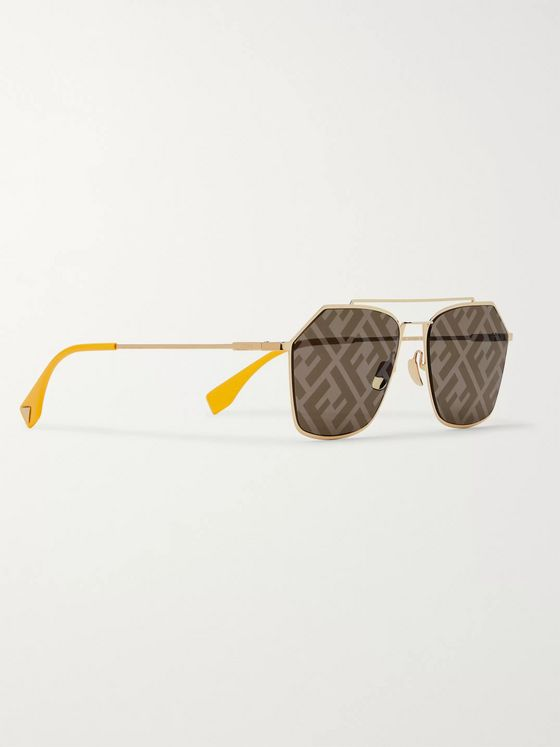 Fendi Aviator-Style Logo-Print Gold-Tone and Acetate Sunglasses