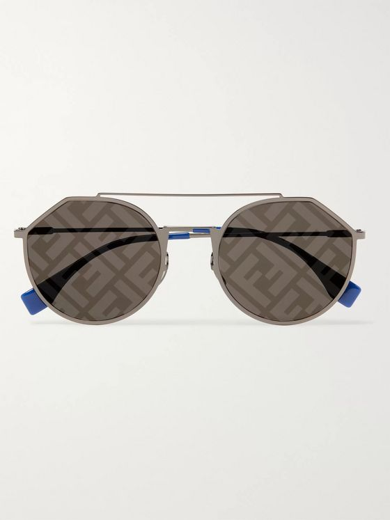 Fendi Aviator-Style Logo-Print Silver-Tone and Acetate Sunglasses