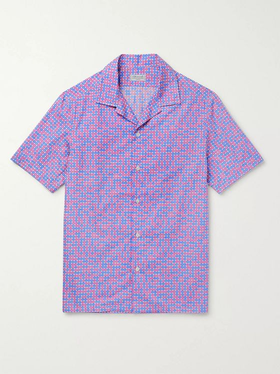 Charvet Camp-Collar Printed Cotton-Voile Shirt