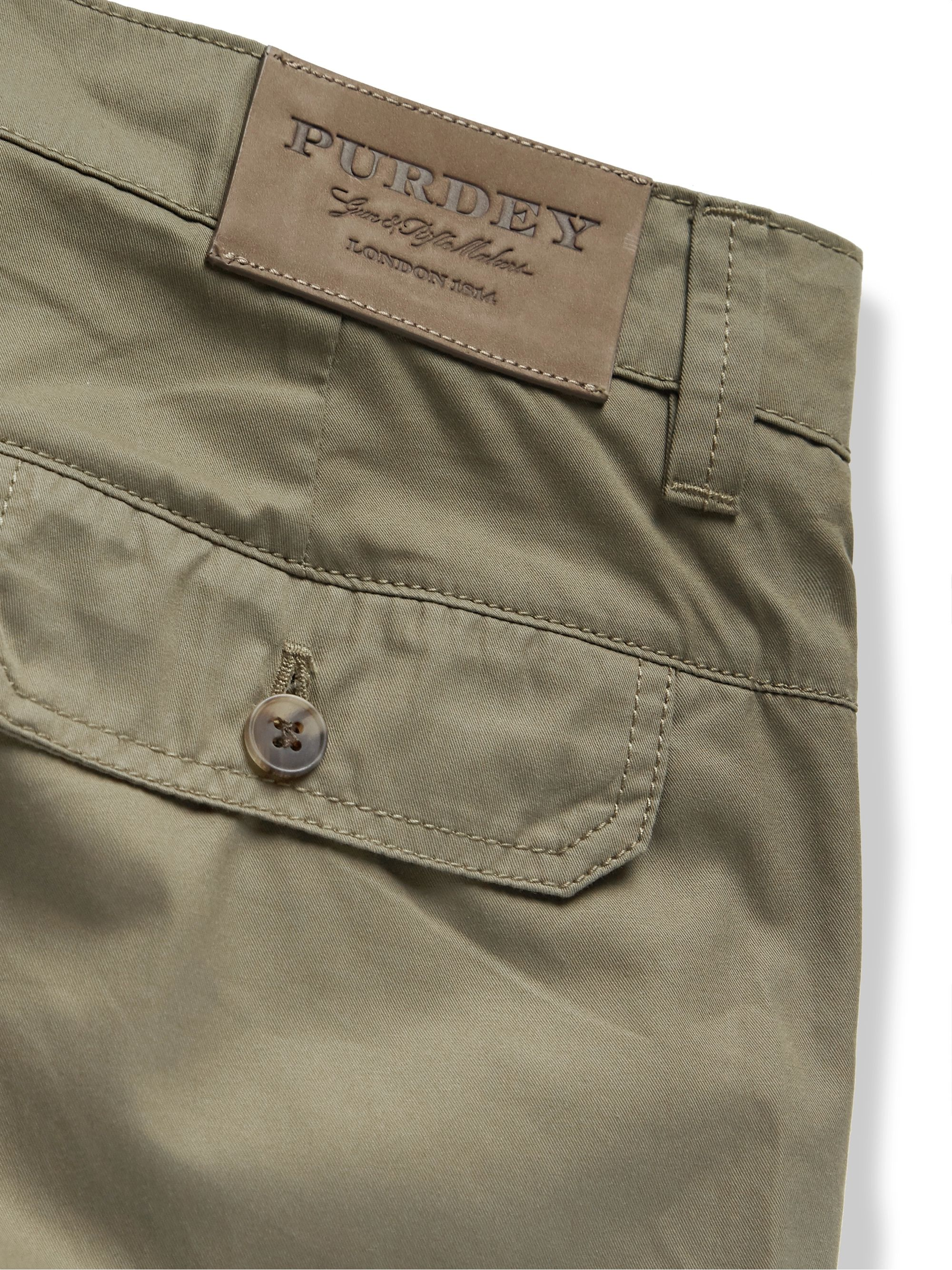 Army Green Cotton-ventile Cargo Shorts | Purdey
